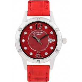 Casio Sheen Ladies Red Leather Fashion Dress Watch